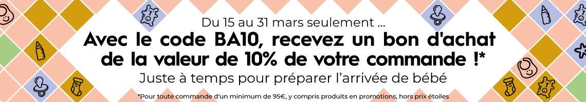 10% de votre commande en bon d'achat avec le code BA10 !