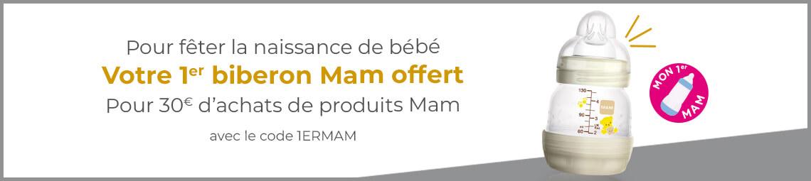 Pour tout achat de 30 € de produits Mam, Made in bébé vous offre le premier biberon de votre bébé !