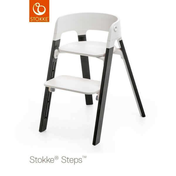 Chaise haute Steps assise blanche pied hêtre gris tempête