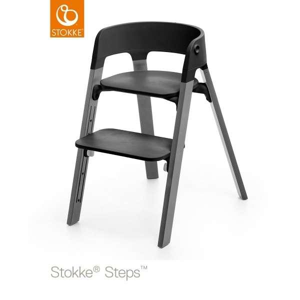 Assise chaise haute Steps noir