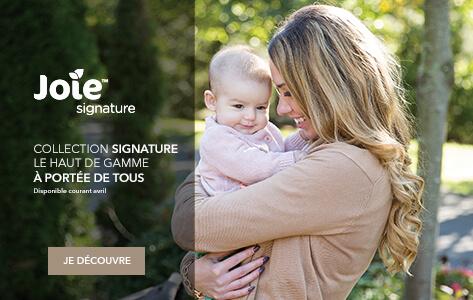Joie Signature, le haut de gamme à portée de tous. Poussette Pact Signature, Coque i-Level Signature et siège auto Spin 360 Signature...