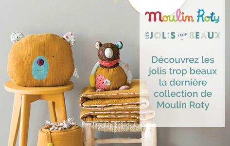 Les Jolis Trop Beaux, nouvelle gamme Moulin Roty, mixte, riche et très diversifiée qui a pour spécificité, l'association d'une large palette de couleurs et de textures, comme un tendre clin d'oeil à ses cousins, Les Jolis pas Beaux…