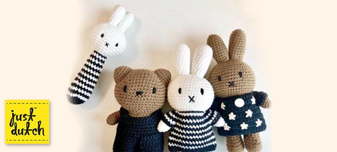 Les lapins Miffy et ours Boris de la marque Just Dutch