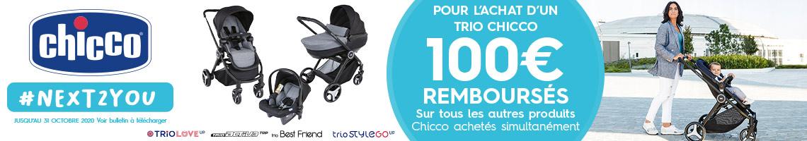 100 € remboursé sur des produits Chicco pour l'achat d'un trio Chicco
